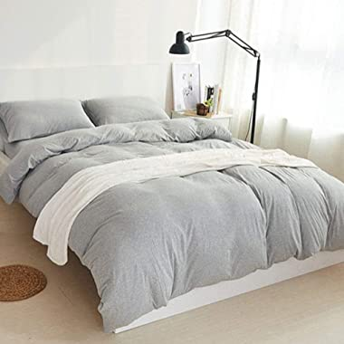 DOUH 3 Pieces Duvet Cover Set King,Ultra Soft Solid Cotton Jersey Knit Home Bedding Set 1 Duvet Cover and 2 Pillow Shams Light Gray King Size