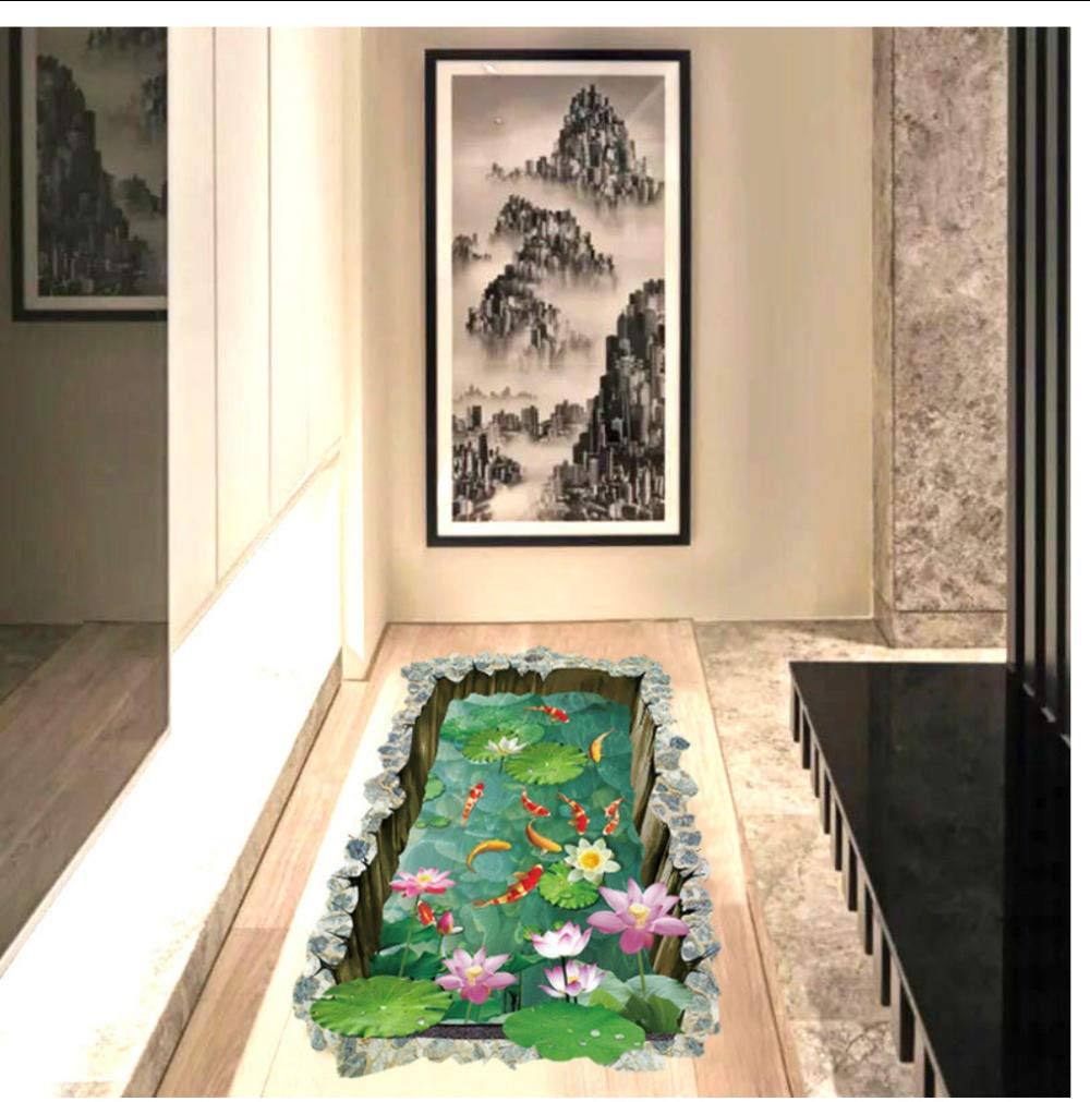 Fish Pond Floor Sticker Kids Room Ground Non-slip Home Decorations Mural Decals