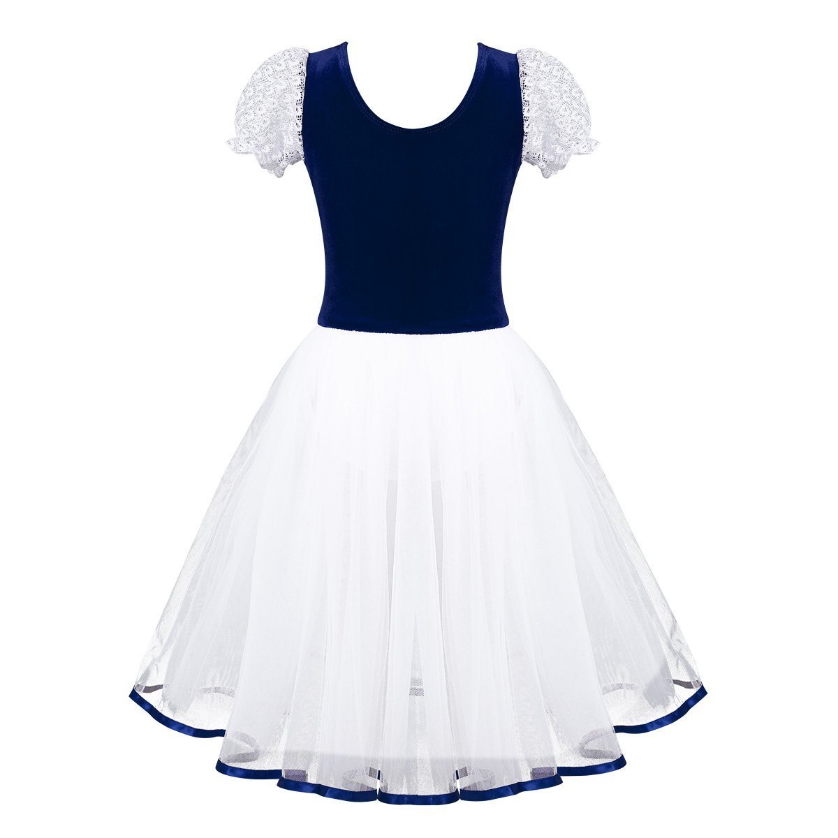 iiniim Kids Girls Lacework Bubble Sleeves Tutu Ballet Dance Leotard Dancer Dress Ballerina Fancy Costumes