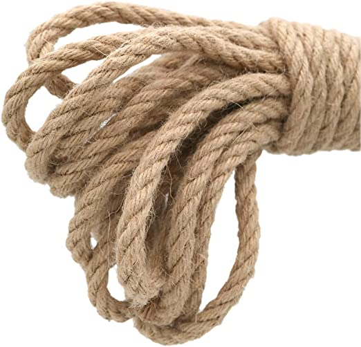 KINGLAKE Cuerda de Yute para jardín de 8 mm de Grosor, Cuerda de 4 Capas de 10 m, Cuerda de cáñamo Resistente para Manualidades, para Embalaje de Regalo, jardinería: Amazon.es: Jardín