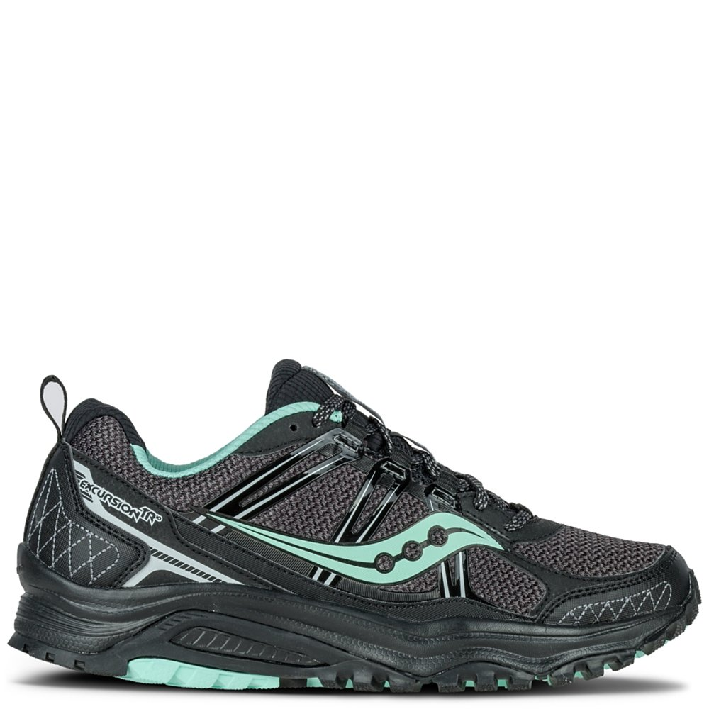 Saucony Women's Grid Excursion Tr10 Trail Running Shoe, Black/Mint, 7 M US