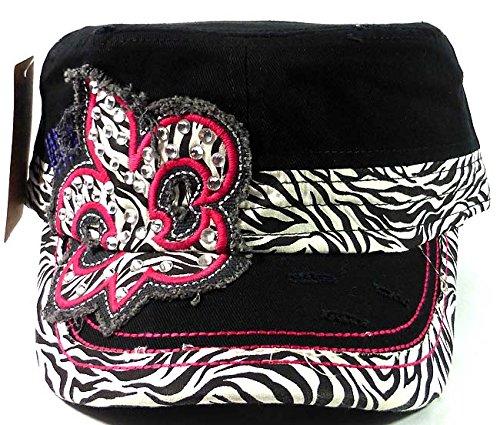 Bling Cowgirl Zebra Fleur de Lis Vintage Cadet Caps Fashion - Black