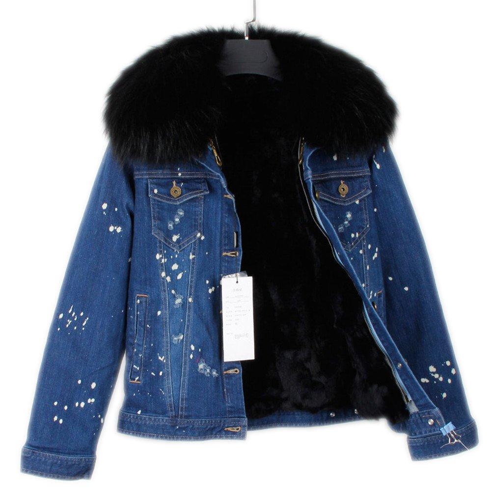 coatsa Real Rabbit Sweater Lined Raccoon Fur Collar Flying Jacket Warm by coatsa