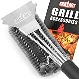 GRILLART Grill Brush and Scraper 360° Clean Grill Brush, Safe 18'' Stainless Steel Barbecue Brush Cleaner with Triple Scrubber, Best Accessories for Grill Cooking Grates and Burners(Leather Hanging)