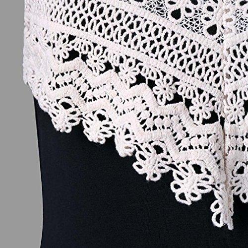 V Neck Dress Mini Fronde Mode Slip Robe Crochet Womens Camisole sans Robe VJGOAL Noir Dentelle Backless Manches vzxfHPq