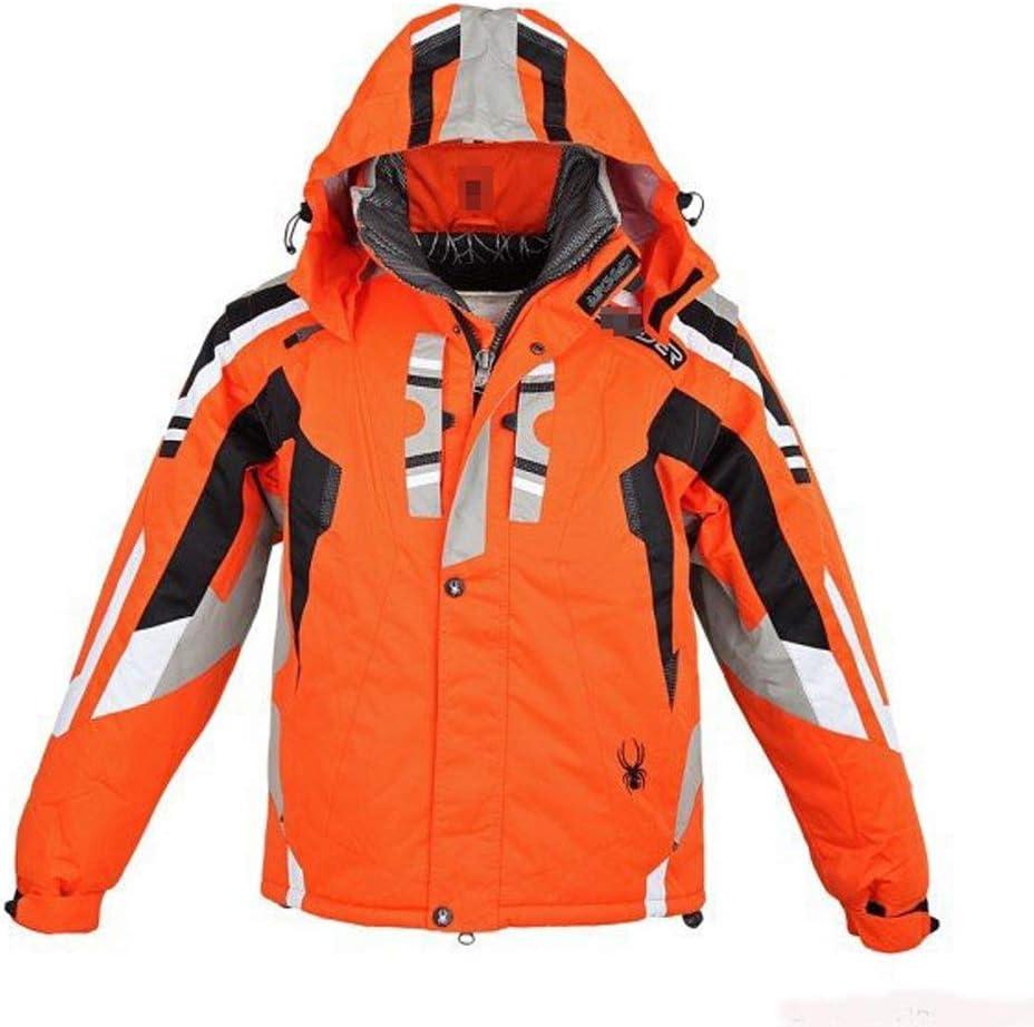 3イン1スキージャケット2ピース防風フード付き男性用インナー暖かいフリースコート 多機能 (色 : オレンジ, サイズ : M) オレンジ Medium