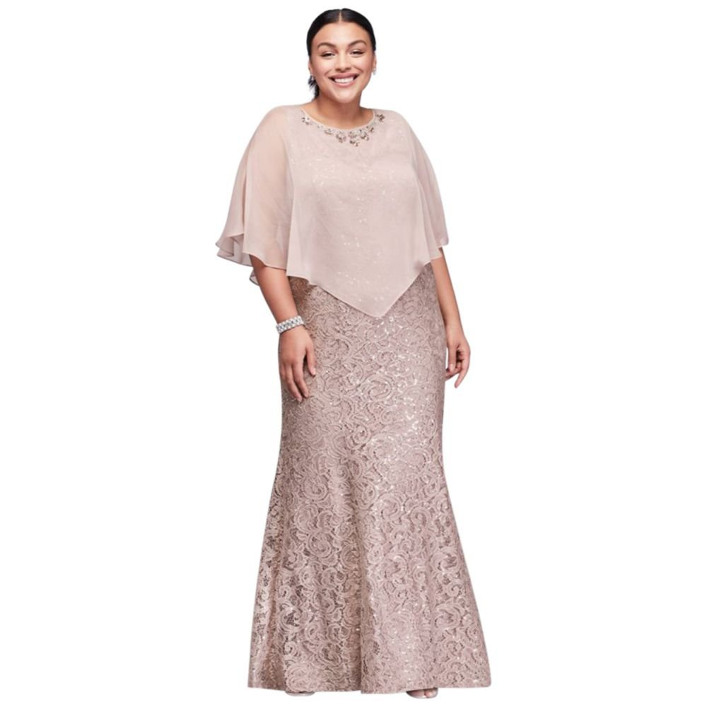 Long Lace Plus Size Mother of Bride/Groom Dress with Beaded Capelet Style  3523DW, Buff, 18W
