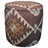 Herat Oriental Indo Kilim Upholstered Puff Ottoman (India), Red