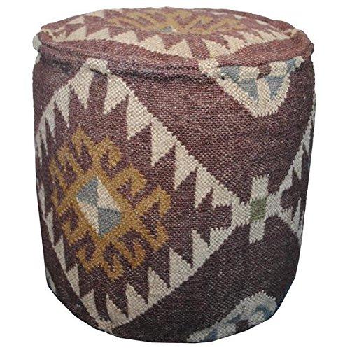 Herat Oriental Handmade Indo Kilim Upholstered Puff Ottoman (Upholstered Furniture Kilim)