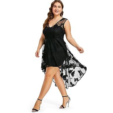 88d195fd26dd Rosegal Robe de soirée Femme mi-Longue Transparente Robe Sexy Ccocktail  Dentelle Imprimée Grande Taille Asymétrique (3XL