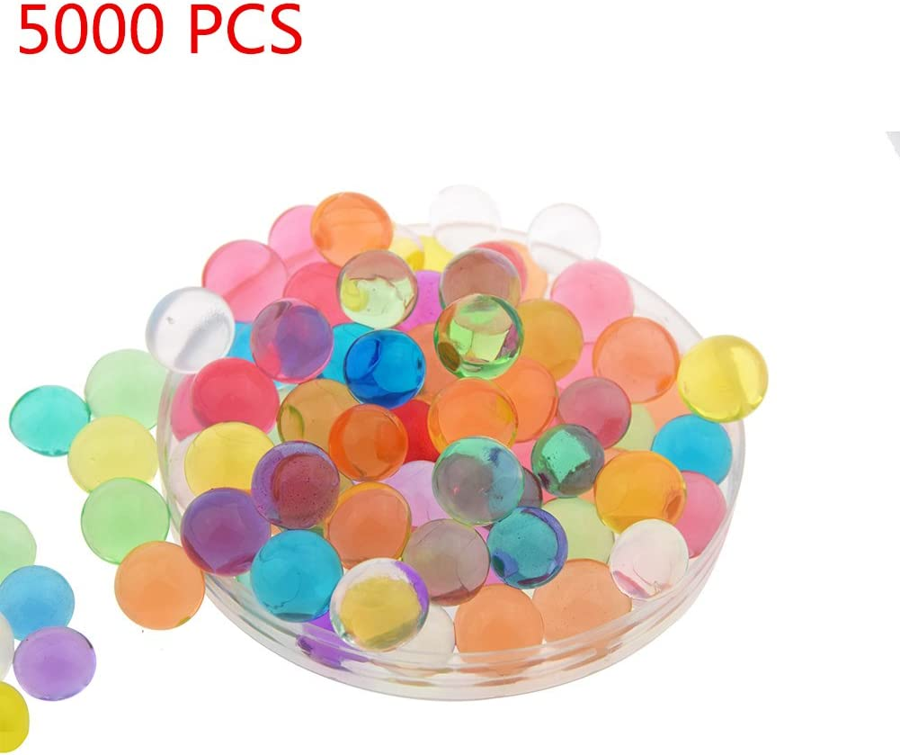 Candora 5000pcs Water Beads Crystals Mud Crystal Water Gel Beads Soil Beads Crystal Soil Plant Flower Jelly Crystal Soil Mud Water Pearls Gel Beads Balls for Kids Vases (Multicolor)