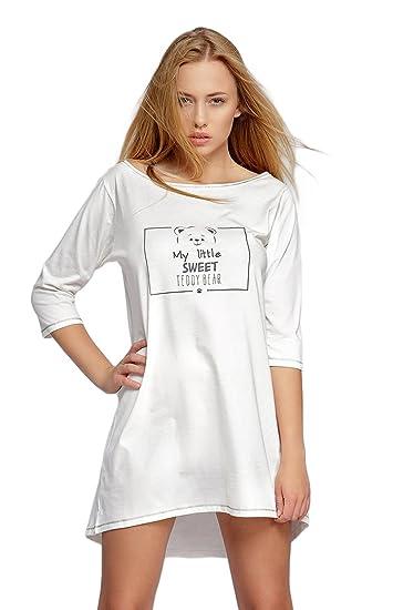 free shipping aa090 44f6c Sensis Modisches Nachthemd Sleepshirt mit Praktischen 3/4-Ärmeln, Made in EU