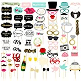 72-Pack Wedding Photo Booth Props - Funny, Bridal Party Photo Props, Selfie Props, Fun Prop Kit, Assorted Designs
