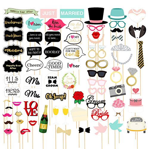72-Pack Wedding Photo Booth Props - Funny, Bridal Party Photo Props, Selfie Props, Fun Prop Kit, Assorted Designs]()