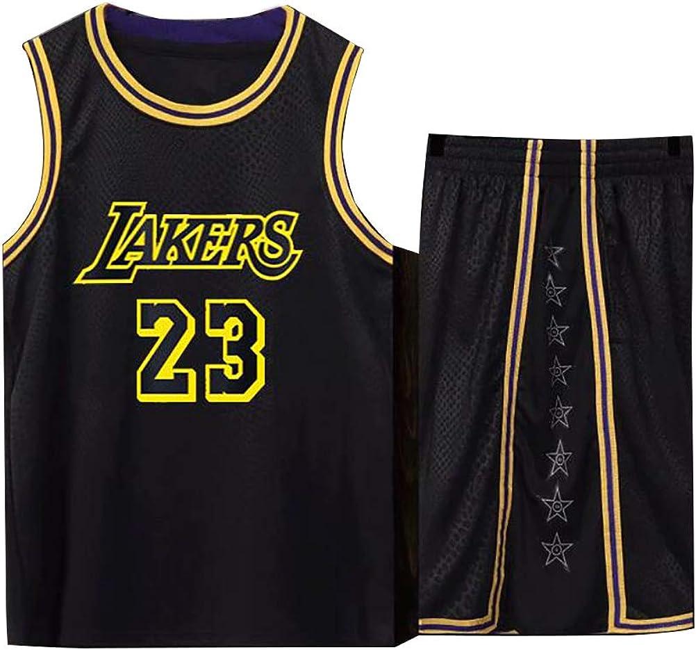 Shorts jugendlich wei/ß gelb Sweatshirt Basketball Trikot f/ür Lebron Raymone James No.23 Lakers Fans Basketball /ärmellose Anzug Kinder Erwachsene schwarz lila Sportswear T-Shirt Weste