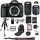 Canon EOS 7D Mark II 20.2MP HD 1080p DSLR Camera, 18-55MM IS STM Lens, 75-300MM III Telephoto Lens + Professional Accessory Bundle (18 items)