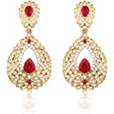 I Jewels Gold Plated Traditional Earrings for Women ED17M (Maroon)