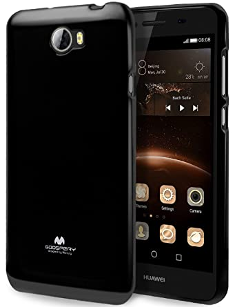 GOOSPERY Marlang Marlang Huawei Y5 II case - Black, Free Screen Protector  [Slim Fit] TPU Case [Flexible] Pearl Jelly [Protection] Bumper Cover for