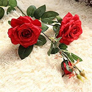 Springs Flowers Artificial Silk Rose Bouquets Wedding Home Decoration for Home Wedding Decor Pack of 5 17