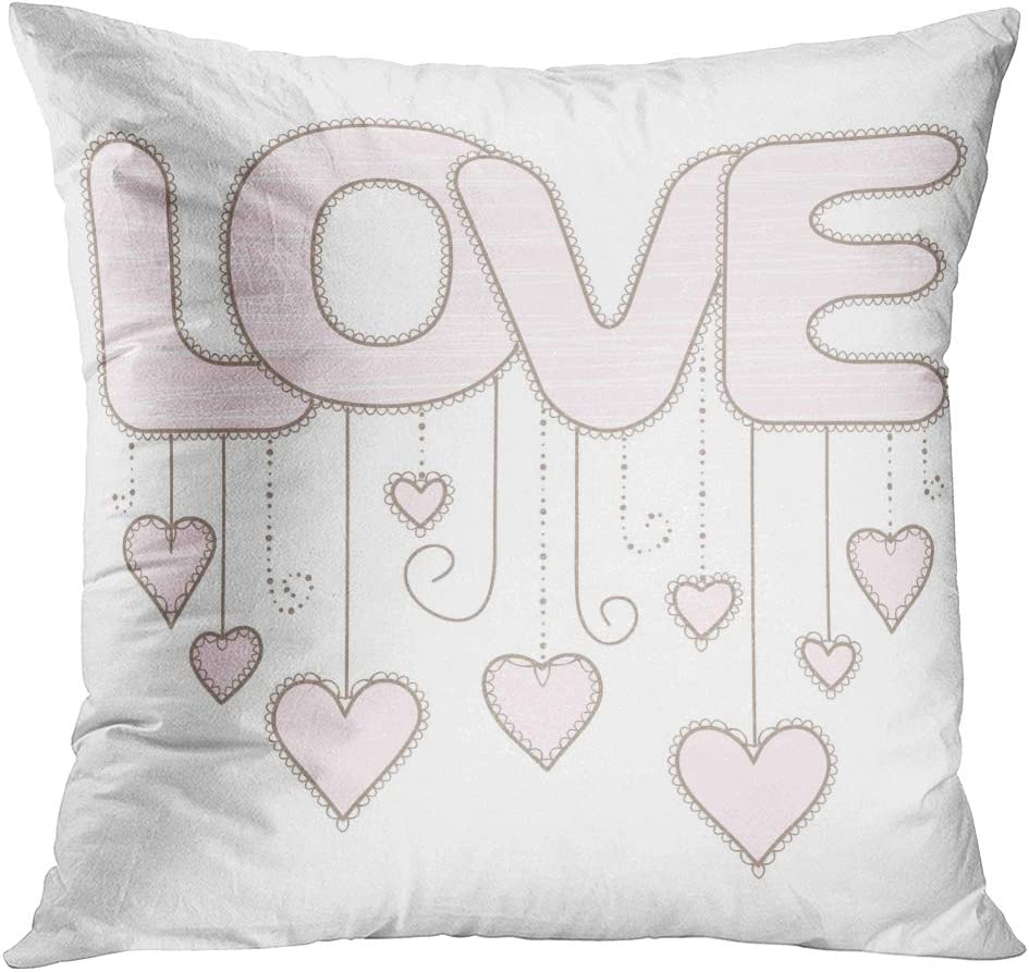 Throw Pillow Cover Pink Girly Love