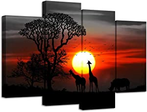 LevvArts 4 Piece Animal Wall Art Giraffes at Sunset Picture Canvas Prints Modern Black and White Red Painting for Farmhouse Home Living Room Decor Framed Ready to Hang