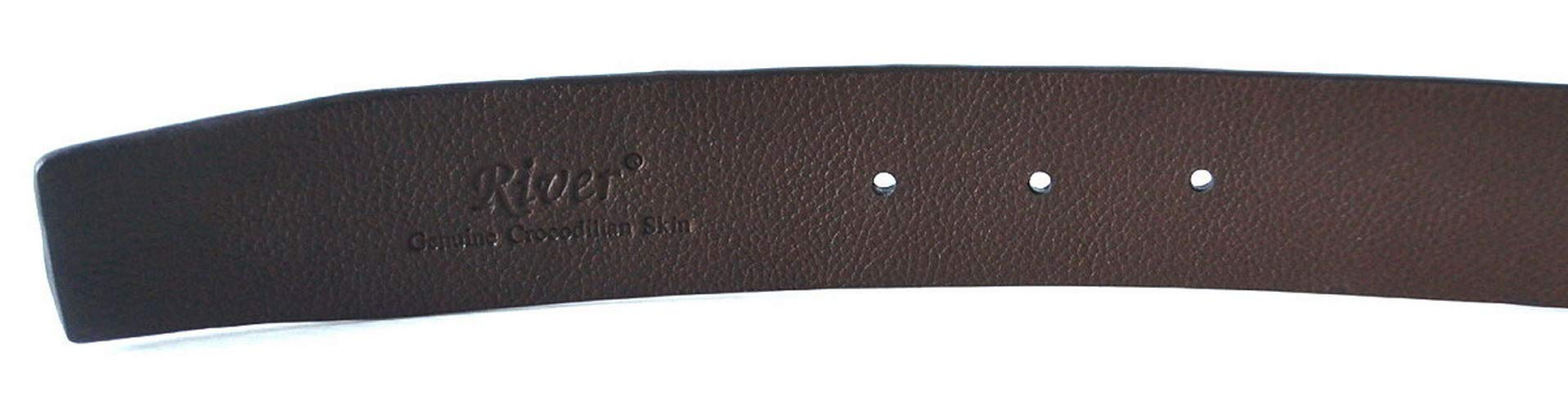 Authentic River Crocodile Skin Men's Big Hornback Pin Belt 34''-36''Drak Brown