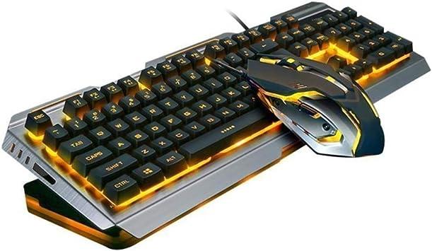 Ninja Dragon Premium - Juego de Teclado y ratón mecánicos para Juegos (Marco de Metal de tungsteno), Color Dorado
