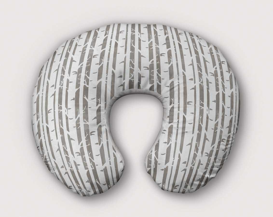 Birch Tree Nursing Pillow Slipcover Woodland Nursery Baby Gift w/100% NonToxic USA Cotton/Minky