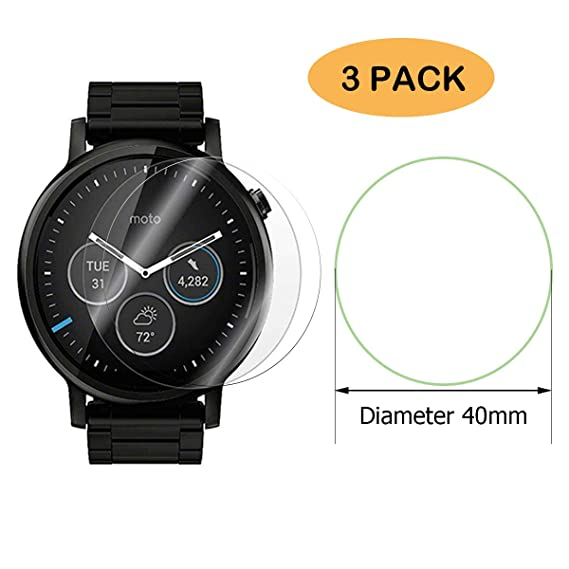 75485b4917ec3 FINENIC【3 Pack】 Universal Round Watch Screen Protector.Compatible for  Forerunner935 /Fossil Q Wander Screen Protector【40mm Diameter】
