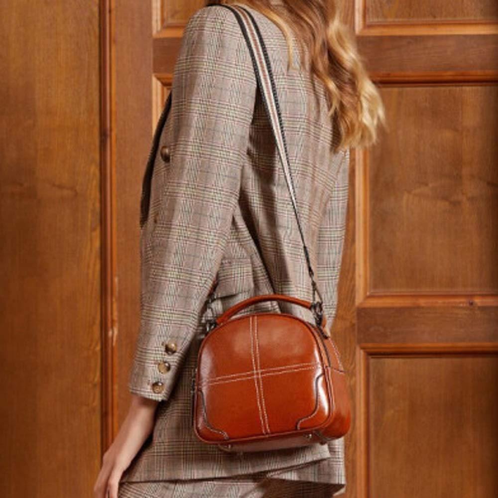 QUAN YOU Leather Bag Color : Brown, Size : A Oil Wax Leather Brown Portable Ladies Bag Baggage//Handbag//Messenger Bag//Handbag