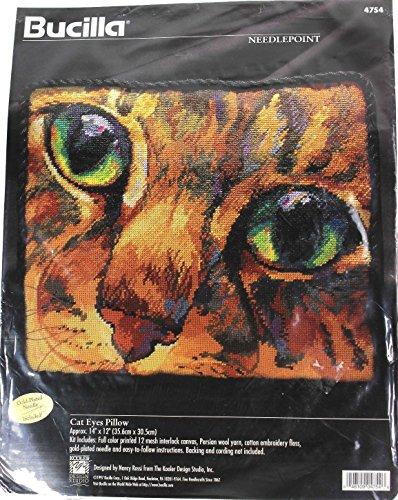 Bucilla Needlepoint Kit Cat Eyes Orange Tabby Pillow 4754 By Nancy Rossi 1997 - Cat Needlepoint Pillow