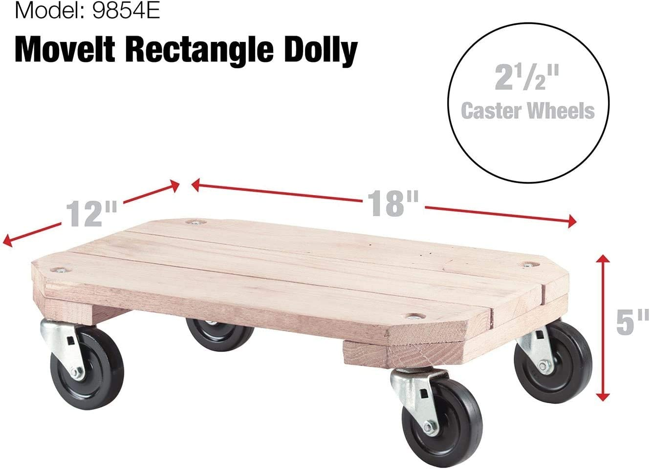 12-Inch x 18-Inch 360-lb Load Capacity Shepherd Hardware 9854 Solid Wood Plant Dolly Pack of 4