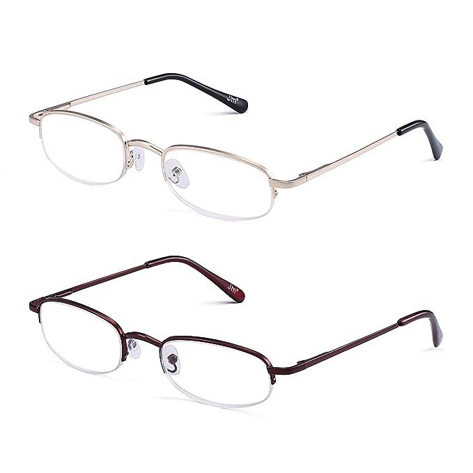 7781209023e Amazon.com  Half Rim Reading Glasses 2 Pair Spring Hinge Eyeglasses Readers Men  Women Eyewear +1.0  Health   Personal Care