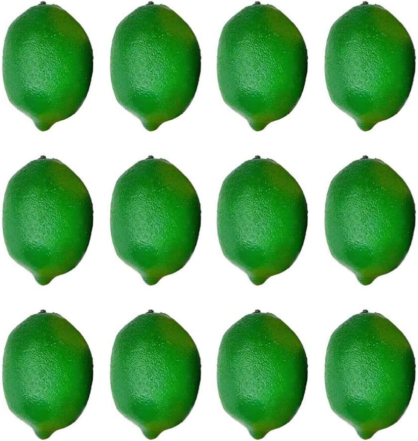 Fake Lemons for Home Decoration Artificial Lime Green Lemons 12 Pcs 2.9 X 2 Artificial Green Lemons Lifelike Normal Size Lemons Simulation Lemons for Kichen Party Chirstmas Decor