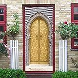 Coohole Creative 3D Waterproof Muslim Door Stickers Bedroom Doors Renovation Stickers (D)