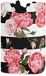 senya Peony and Roses Large Laundry Basket Shopping Bag, Collapsible Fabric Laundry Hamper, Foldable Clothes Bag, Folding Washing Bin (g)