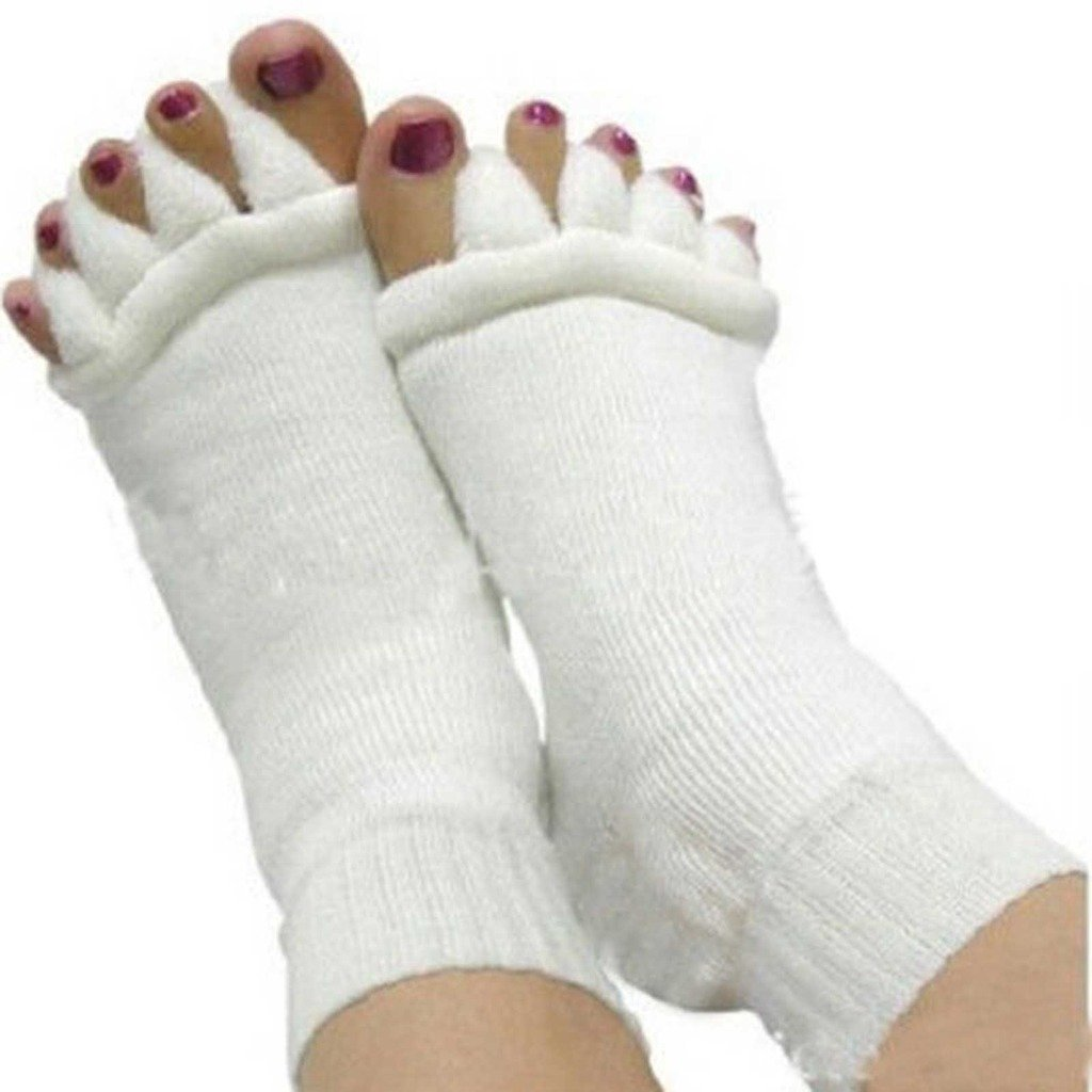VANKER 1 Pair Yoga Correction Foot Pain Relief Five Toes Separator Massage Socks Foot Care Equipment