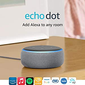 Echo Dot (3rd Gen) – Smart speaker with Alexa - Heather Grey Fabric