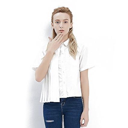Blusa de manga corta de algodón blanca delgada de primavera de las mujeres (Color :