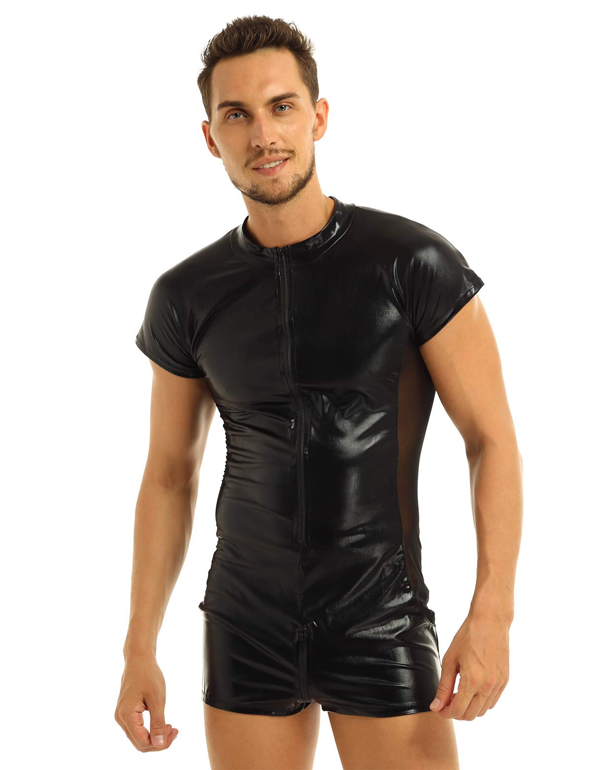 Feeshow Mens Faux Leather Mesh Short Sleeves Zipper One Piece Leotard Bodysuit Catsuit Black M