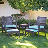 AURO Brisbane Outdoor Furniture | 5-Piece Lounge Chair & Ottoman | All-Weather Brown Wicker Conversation Set Chat Seating with Blue Olefin Cushioned Sofas & Side Table | Patio, Backyard, Pool, Porch