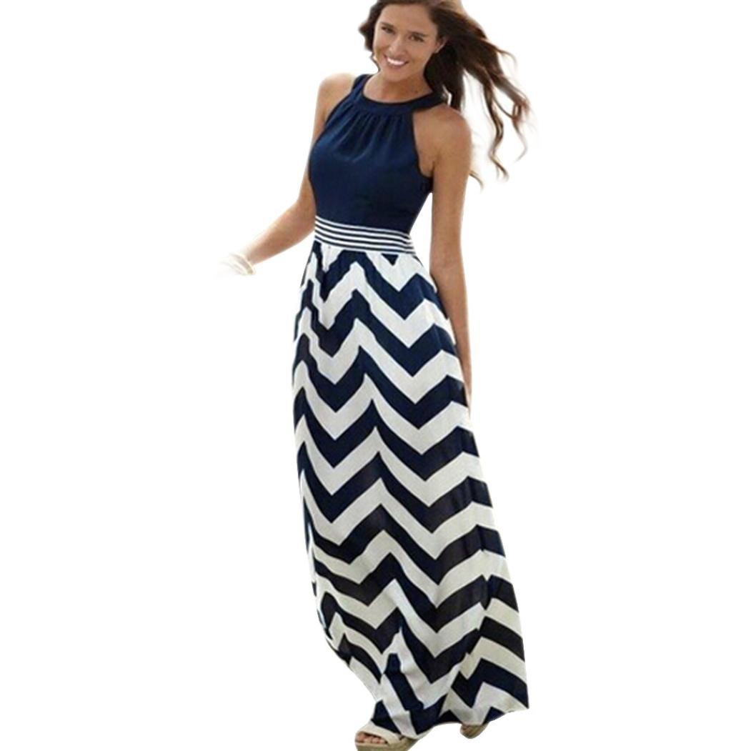 Fanyunhan Women New Sexy Summer Long Dress Boho Striped O-Neck Maxi Dress Evening Party Beach Dresses Sleeveless Sundress Blue