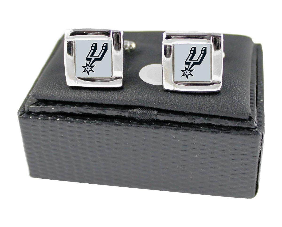Rick San Antonio Spurs NBA Sports Fan Team Logo Square Engraved Design Mens Shirt Cufflinks Gift Box Set
