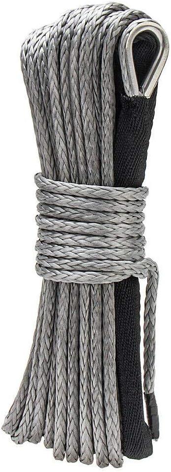 Naliovker Corde de Treuil Synth/éTique Cable de Ligne de Corde de Treuil Synth/éTique Grey1 4 X 50Ft pour Treuil de Bateau de Camion ATV SUV