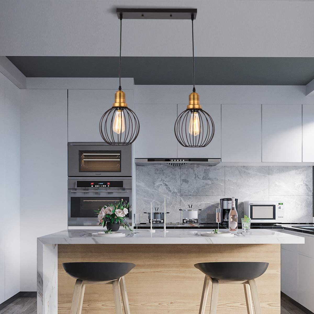HOXIYA 5 Lights Pendant Lights Vintage Hanging Ceiling Light Fixtures Black Finish Kitchen Pendant Lighting and Dining Room Chandelier