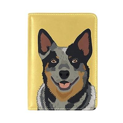 ALAZA Happy Dog Travel Passport Holder Cover Case Leather Passport Wallet Case