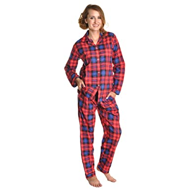 Angelina Womens Cotton Flannel Pajama Set at Amazon Women's ...