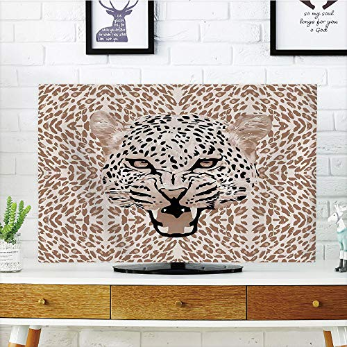 - iPrint LCD TV Cover Multi Style,Modern,Roaring Leopard Portrait with Rosettes Wild African Animal Big Cat Graphic,Cocoa Beige Black,Customizable Design Compatible 70
