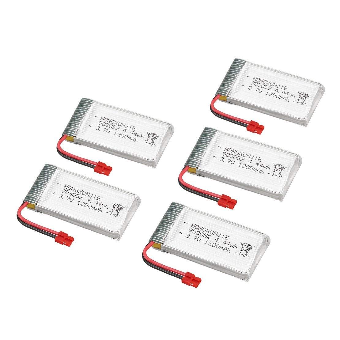 Blanc 5pcs 3.7V 1200mAh 25C Lipo Batteries avec 6 en 1 USB Chargeur de pi/èces de Rechange Kit Accessoire pour Drone Quadcopter Syma X5HC X5HW