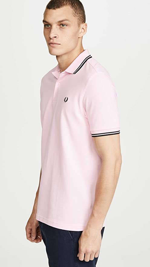 Fred Perry Slim Fit Twin Tipped Polo Pink Lady & Black-L: Amazon ...